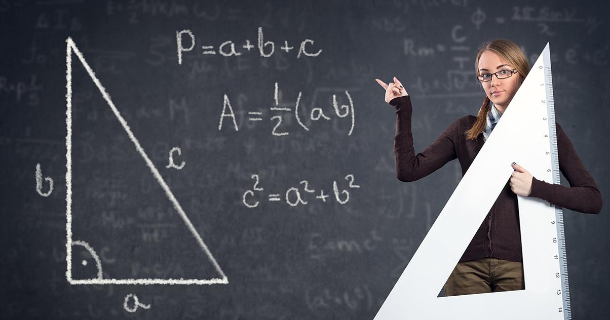 A student computing the Pythagorean Theorem