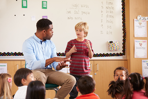 Teacher assists student in special education class