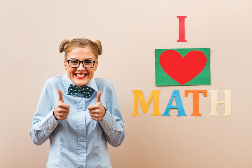 Girl with an I heart math sign