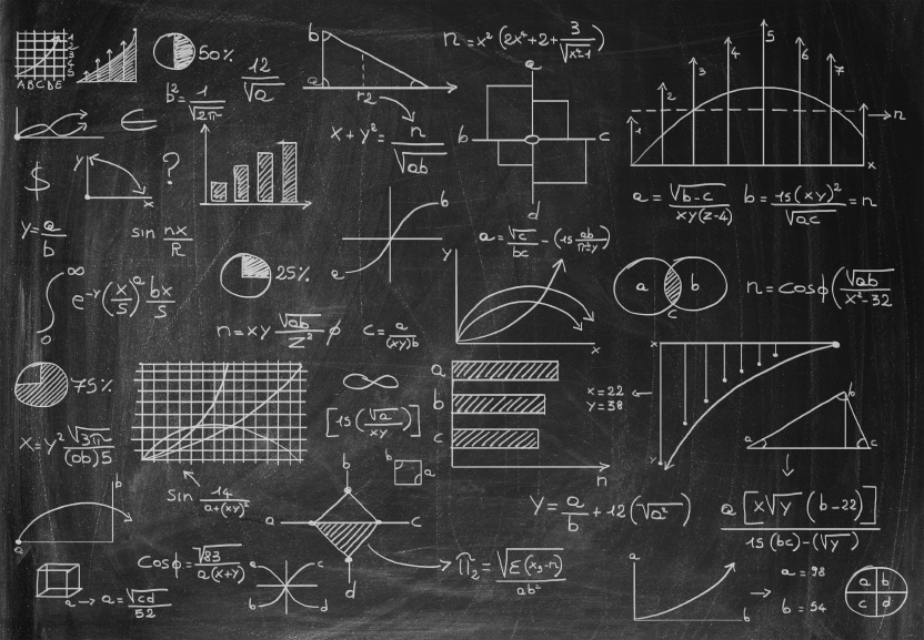 Math graphs and charts on a chalkboard