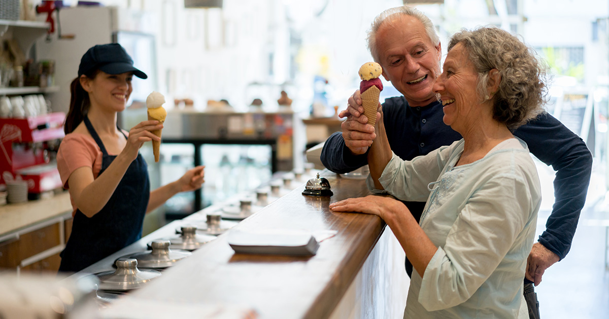 A teacher getting ice cream with her husband