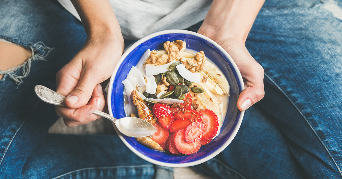 A bowl full of mood-boosting ingredients