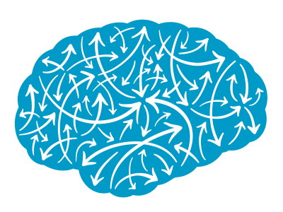 Animated brain with many directional lines