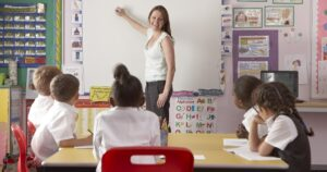 Teacher standing in front of a classroom of kindergarteners