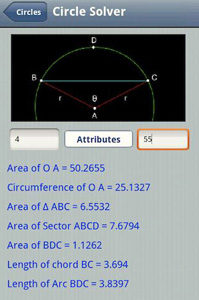 Geometry Pro helps students solve challenges like the area of a circule