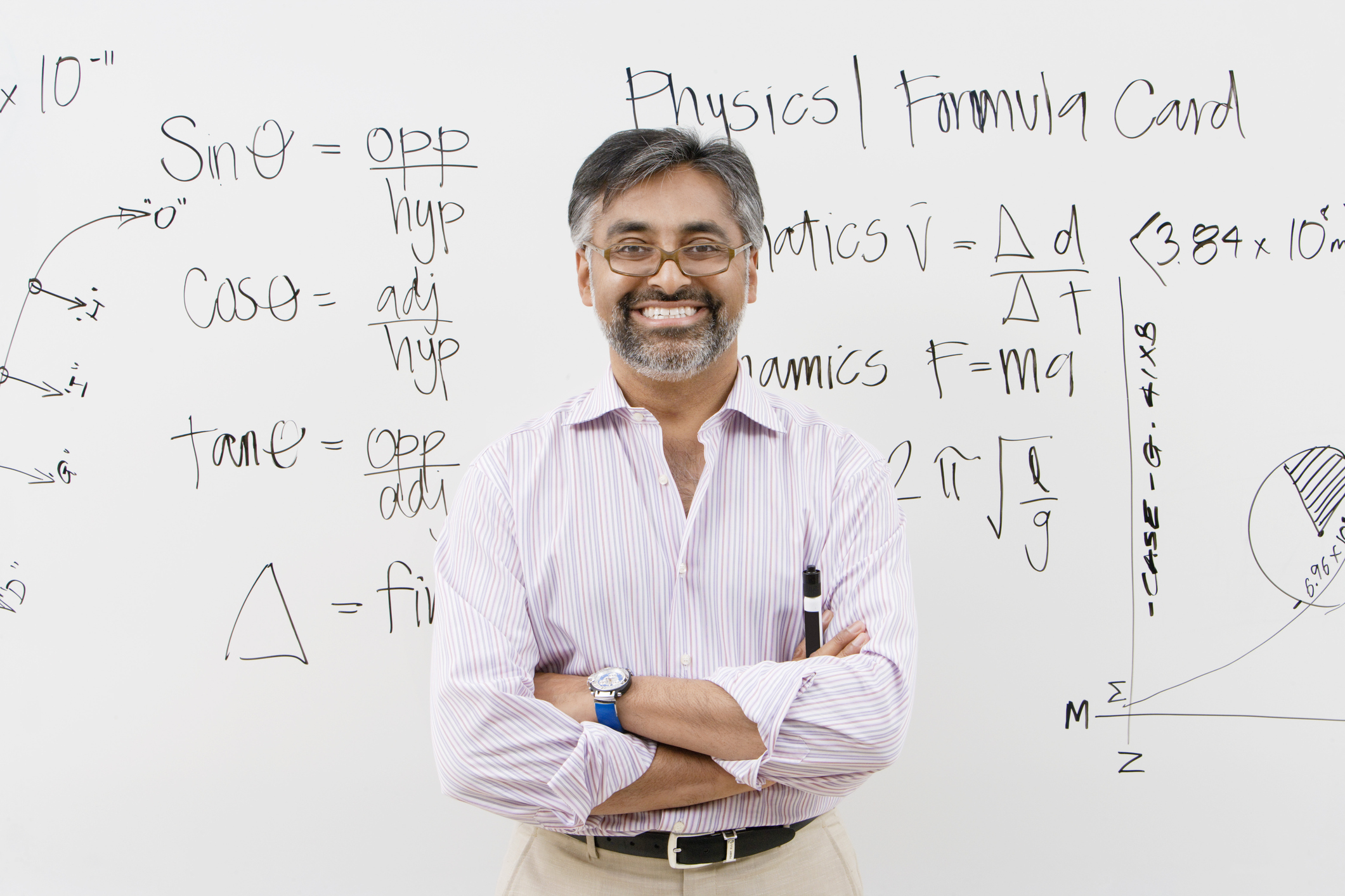 Physics teacher in front of whiteboard