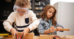Girls working on a STEAM project