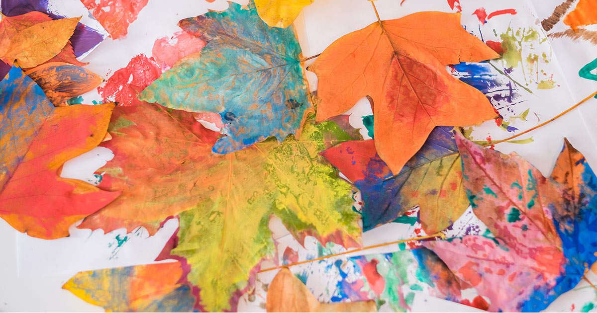 Fall leaves painting in art class