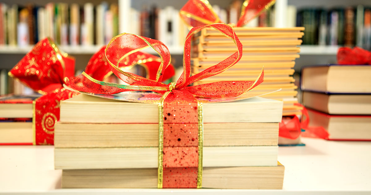 Books wrapped up as holiday gifts