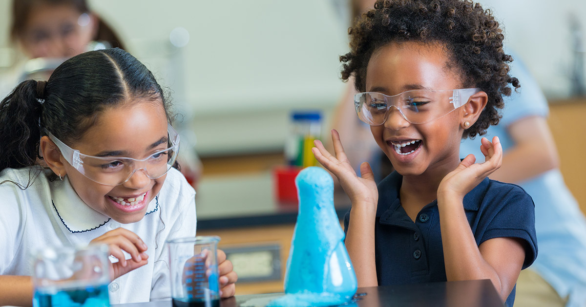 2 girls doing a science experiment