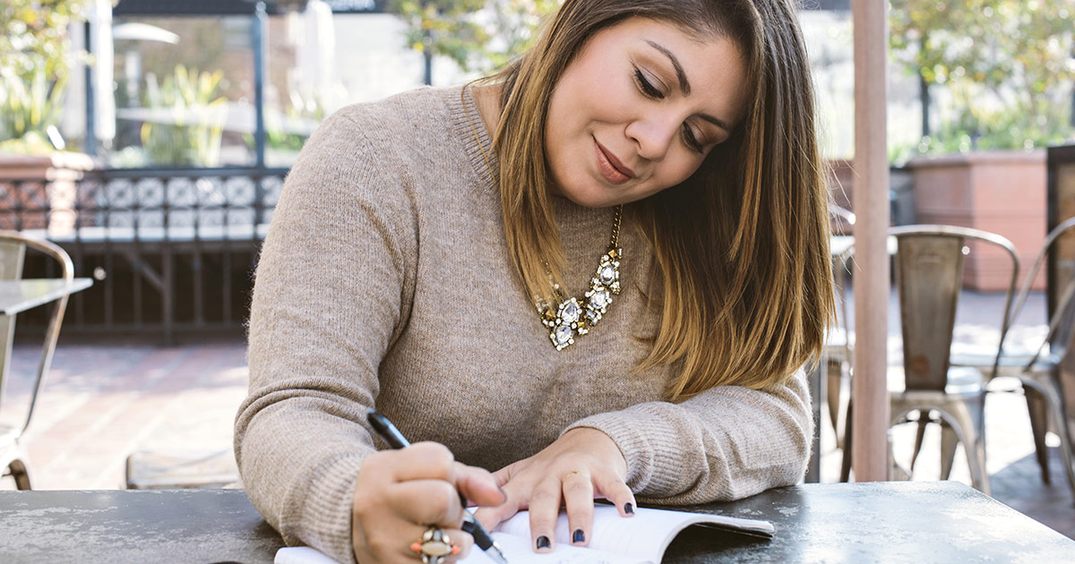 A teacher working on her mission statement