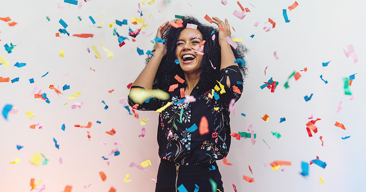 A teacher celebrating that she reached the end of the Educator Rejuvenation Challenge