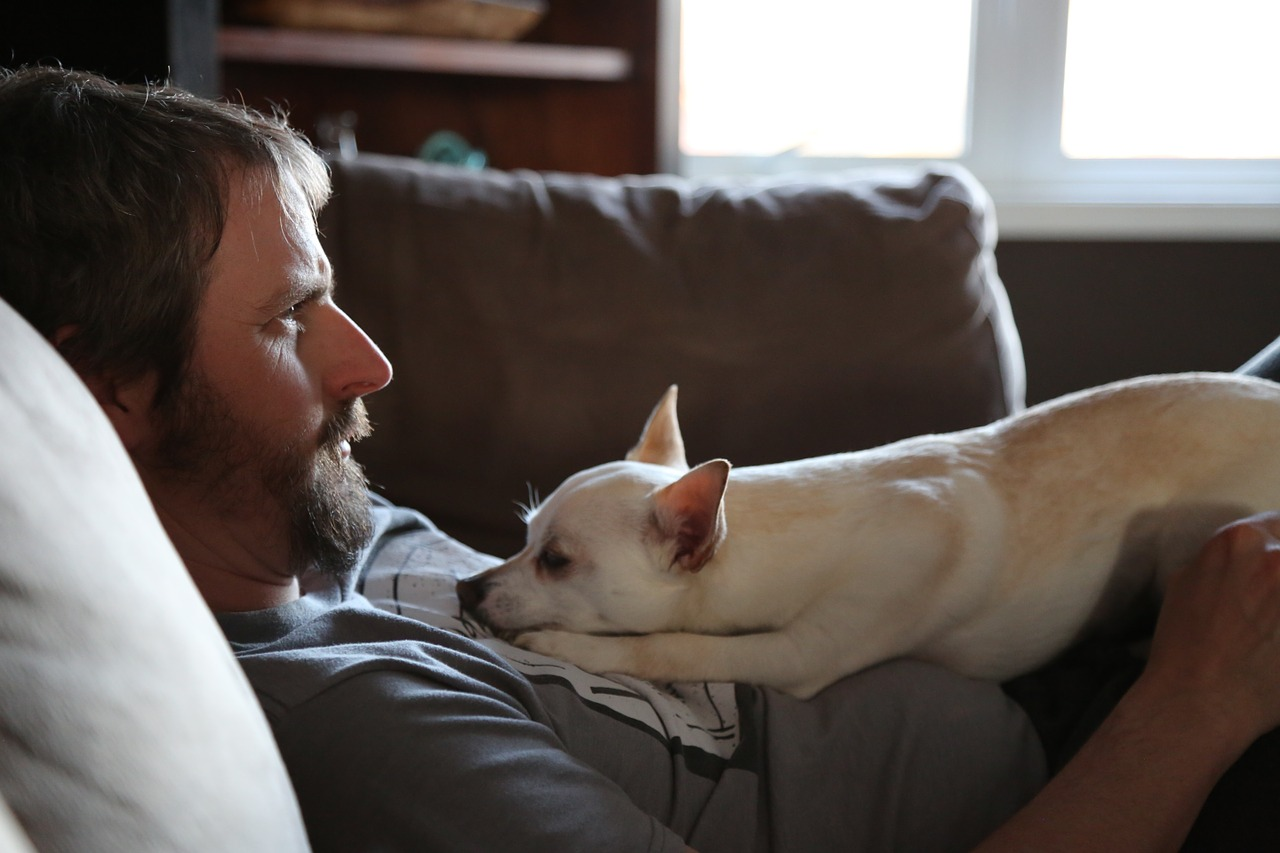Guy and dog laying on couch